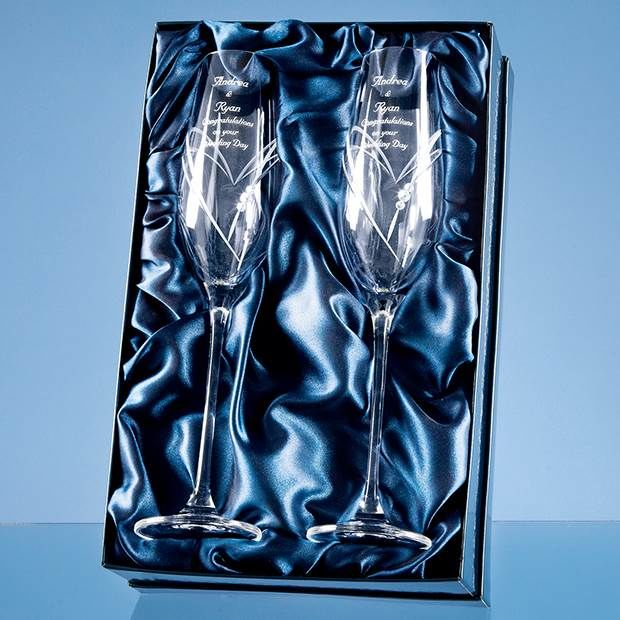 Pair of Swarovski Crystal Champagne Flutes