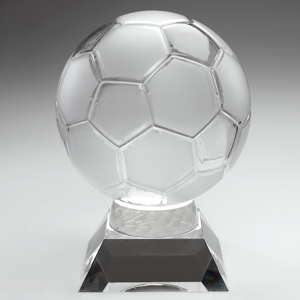 Clear Glass Football Award 267mm